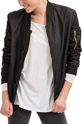 trueprodigy Casual Damen Marken Bomberjacke einfarbig Basic Damenjacke Cool Stylisch Vintage sportlich Slim Fit Jacke für Frauen, Farben:Schwarz, Größe:S