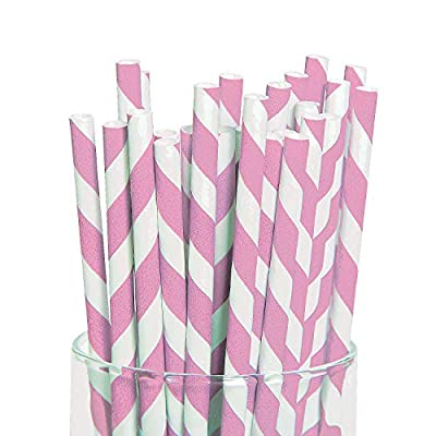 Fun Express - Pink Paper Striped Straws (24 Pc) - Party Supplies - Drinkware - Straws - 24 Pieces