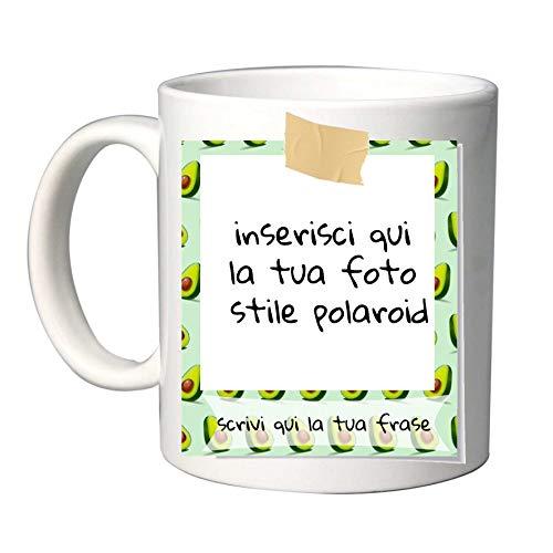Tazza in Ceramica Personalizzabile con Foto e Scritta Stile Polaroid Special Fantasia (Avocado)