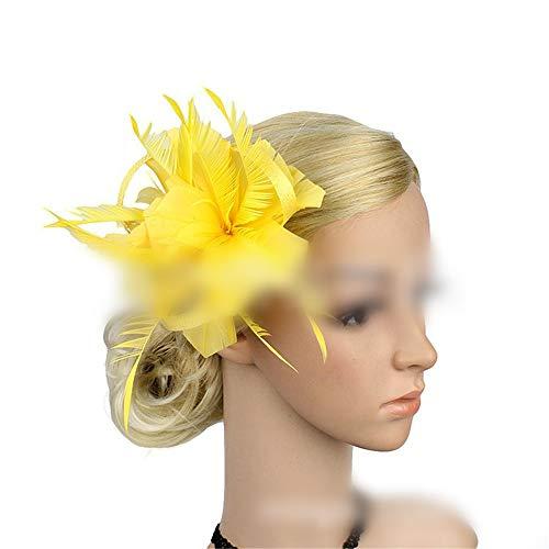 WZNING Clip de lino de la horquilla de pelo de la pluma del partido Headwear Cocktail Party Clip Accesorios Mujer pluma del sombrero pelo de la flor (Color : Yellow)