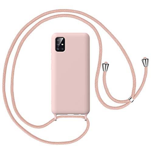Oududianzi Funda para Teléfono Samsung Galaxy A51 - Funda Protectora de Silicona TPU con Collar Ajustable - Rosado
