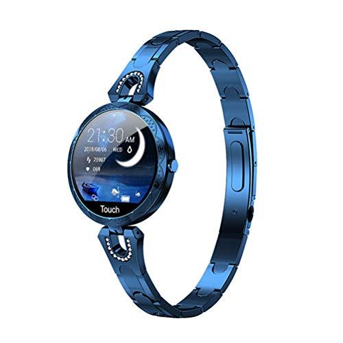RongWang Reloj Inteligente de Moda para Mujer, Dispositivo portátil Resistente al Agua, Reloj Inteligente Deportivo con Ritmo cardíaco para Mujeres, señoras (Color : Blue)