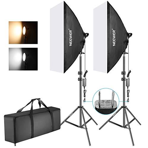 Neewer 50x68cmソフトボックス写真照明用キット 2色45W調光可能LEDライトヘッド ライトスタンド付属 フォト...