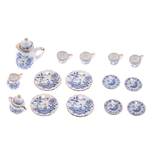 1:12 Puppenhaus Wohnzimmer Miniatur Keramik Chinesischen Tee Set mit Blaue Blume Muster