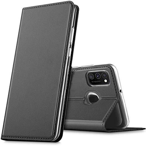 Verco Handyhülle für Samsung Galaxy M30s, Galaxy M21 Hülle Premium Handy Flip Cover für Galaxy M30s Hülle [integr. Magnet] Book Hülle PU Leder Tasche, Schwarz