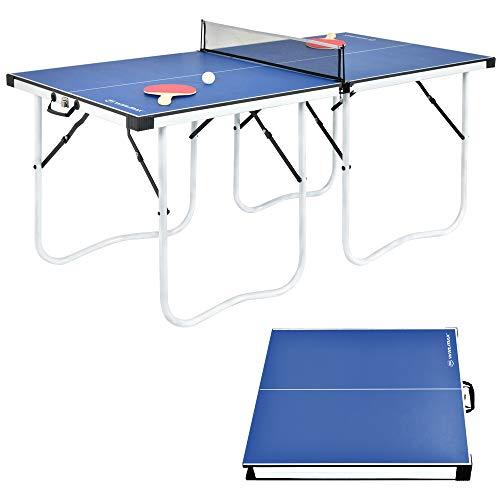 WIN.MAX Tischtennisplatte Midsize, Klappbare Tischtennistisch 152 x 73 x 67 cm, TT-Platte für Indoor & Outdoor, Blau