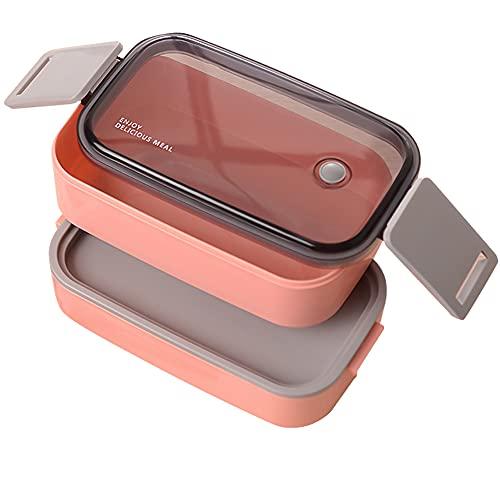 Bento Lunch Box per Adulti e Bambini,Porta Pranzo Ermetico a 2 Scomparti,1600ML-Microonde e Lavastoviglie - No BPA (Rosa)