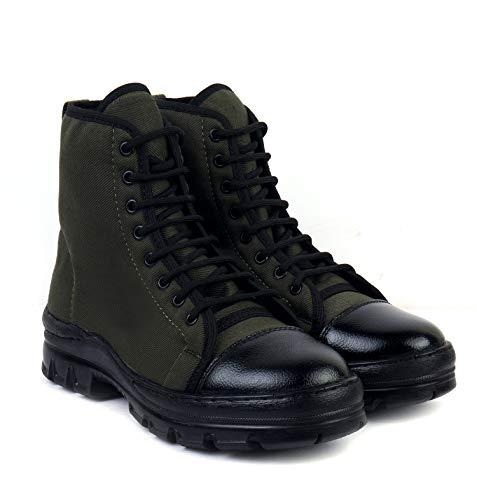 XY Hugo JB-1 Men's Black/Green Jungle Boots PU Anti-Skid High Ankle (Green, 9)