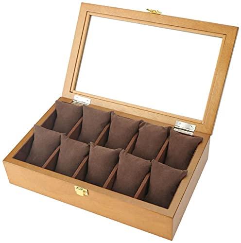 Caja de reloj de madera/caja de regalo de joyería con cerradura/tapa de cristal/adecuado para hombres y mujeres de gama alta de almacenamiento de relojes (10 ranuras para tarjetas), A