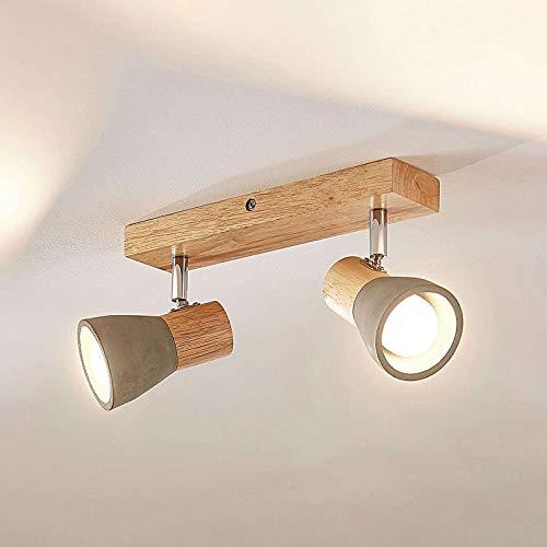 Lindby Beton LED Deckenlampe 'Filiz' (Skandinavisch) in Alu aus Beton, u.a. für Schlafzimmer (2 flammig, E14, A+, inkl. Leuchtmittel) - Deckenleuchte, Wandleuchte, Strahler, Spot, Lampe
