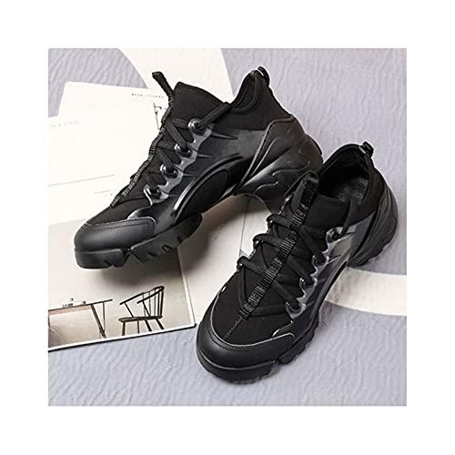 HaoLin Zapatillas Mujer Casual Fitness Cómodo Deportes,Black-36 EU