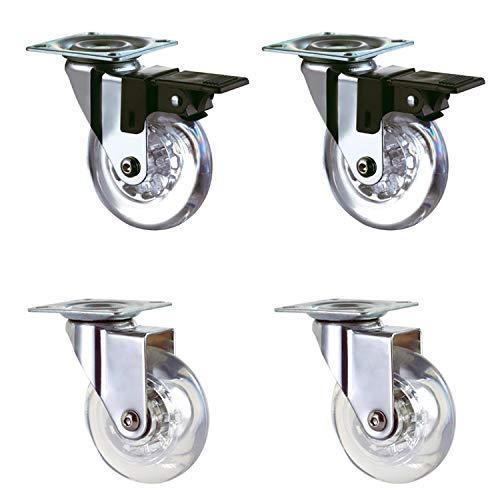 4 ruedas transparentes de 50 mm con freno para transporte, fácil de mover silencioso, apto para todas las superficies (50 mm), revestimiento de goma transparente, carga total de 160 kg.