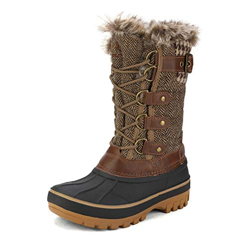 DREAM PAIRS Boys Faux Fur Lined Insulated Waterproof Winter Snow Boots Brown Kriver-1 Size 10 M US Toddler