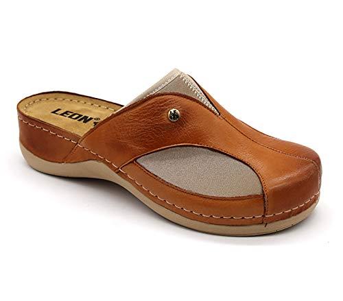 LEON 912 Zuecos Zapatos Zapatillas de Cuero para Mujer, Marrón, EU 39