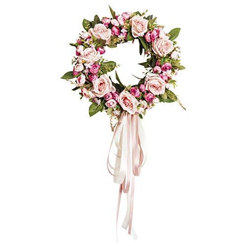 Doubleer Rose Blumen Kranz Ring künstliche Blumengirlande florale Schleife für Hochzeit Haustür Treppe Kamin Wand Grab Home Party Dekor rund und herzförmig