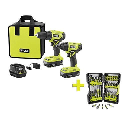 RYOBI P1817-AR2040 18-Volt ONE+ Cordless 2-Tool Combo Kit w/ (2) 1.5Ah Batteries, Charger & Bag w/BONUS Impact Rated Driving Kit (70Piece)