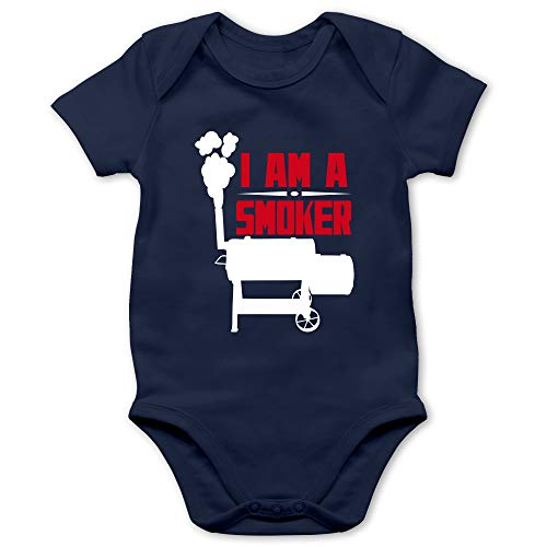 Grillen - I am a Smoker - 12/18 Monate - Navy Blau - Geschenk - BZ10 - Baby Kurzarm Body Strampler