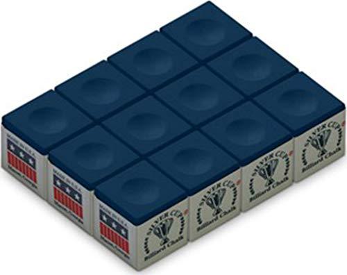 Silver Cup Billiard/Pool Cue Chalk Box, Blue, 12 Cubes