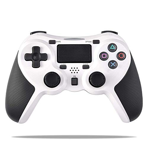 COOLEAD Mando Inalámbrico Playstation4, Controlador Inalámbrico Bluetooth para Playstation4 Doble Choque 4 con Panel Táctil Vibración Dual Compatible con PlayStation4 y PC(Blanco)
