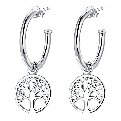 Lydreewam Damen Creolen mit Anhänger Lebensbaum Ohrringe Silber 925, Durchmesser 20mm