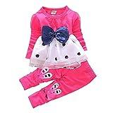 Little Glam Baby Girl's Bowknot Long Sleeve Princess Dress and Rabbit Pants