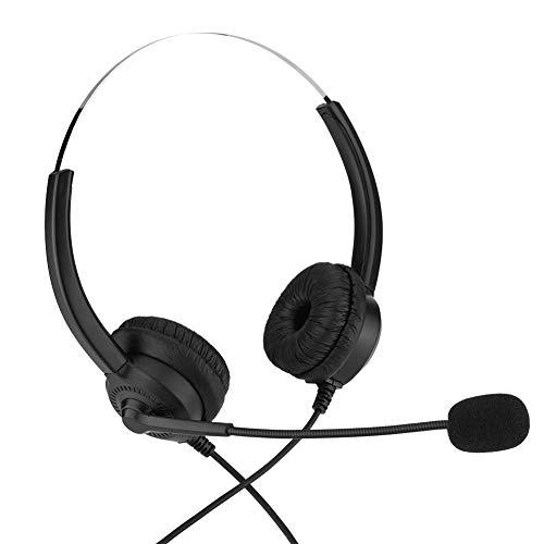 Auriculares de centro de llamadas, sin caída Auriculares de centro de llamadas de sonido sin pérdidas portátiles para resolver el problema del cliente para la caja de escritorio(Crystal Head, 12)