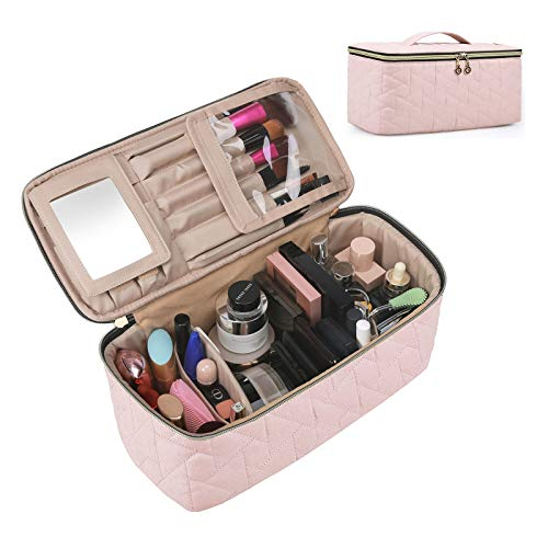 Makeup Bag, BAGSMART Large Cosmetic Bag Travel Toiletry Bag Travel Makeup Case Organizer for Women, Soft Pink