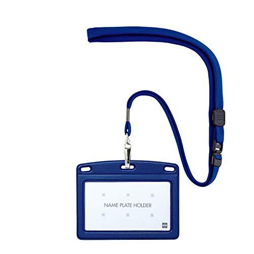 オープン工業 名札 吊下げ名札 レザー調 名刺サイズ 青 N-123P-BU