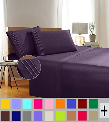 Eleganter Komfort, Fadenzahl, Falten- und farbbeständig, ägyptische Qualität, 3-teiliges Bettwäsche-Set mit Bettlaken, Spannbetttuch und 1 Kissenbezug Full Brombeerfarben