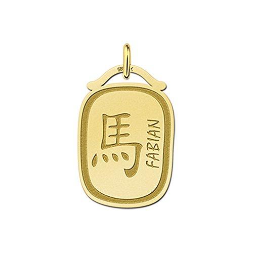 Namesforever hanger Chinese sterrenbeeld paard van goud met naamgravure