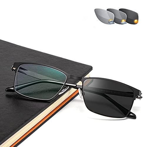 HAOXUAN Gafas de Lectura de Negocios con Marco Cuadrado de Metal fotocromáticas para Exteriores, Gafas de Sol para Hombre, Lector de visión HD, dioptrías de +1,00 a +3,00,Negro,+1.00