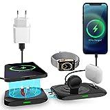 AICase Cargador inalámbrico 4 en 1,estación de Carga de 15 W para iPhone 12 Serie, iWatch y AirPods, Base de Carga para iPhone,Soporte de Carga para A pple Watch(Adaptador QC 3.0 Incluido)