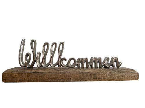 Vogt Foliendruck GmbH Aufsteller Schriftzug Willkommen Aluminium auf Mango - Holz ca. 28 x 9 x 5 cm Schrift braun/Silber