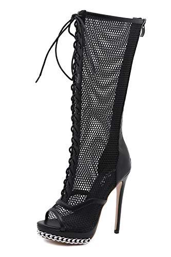 Femmes Peep Toe Bottes Nouveau Charme Mesh Sandales À Talons Hauts Chaîne Sangle De Mode Bottes Au Genou,Noir,40