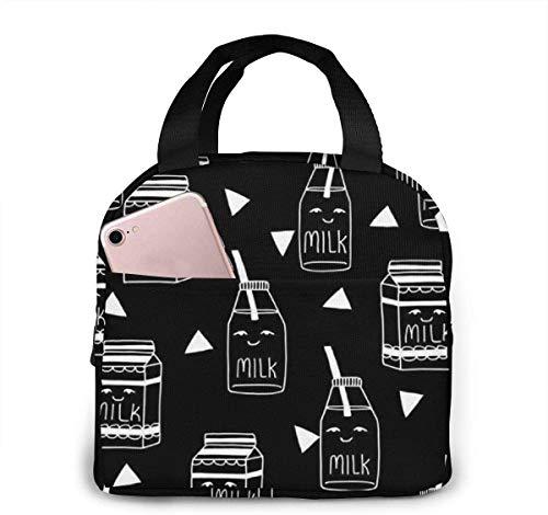 Bolsa de almuerzo con leche para mujeres,niñas,niños,bolsa de picnic aislada,bolsa gourmet,bolsa cálida para el trabajo escolar,oficina,camping,viajes,pesca
