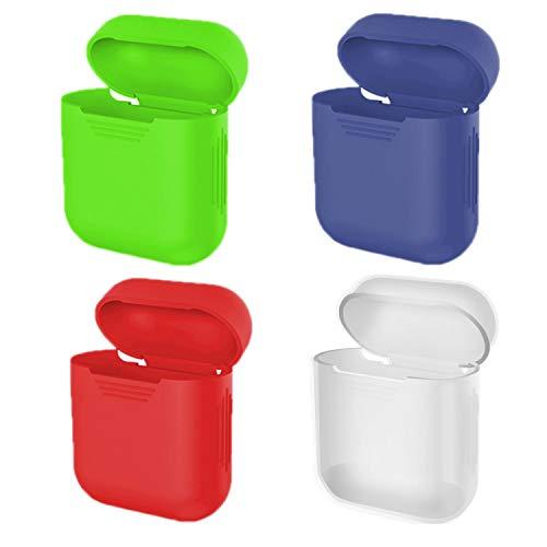 Eco-Fused Cubiertas Protectoras el Estuche Compatible con Apple AirPods – Paquete de 4 (Rojo, Azul, Verde y Transparente) – Silicona – Protege el Estuche de Tus AirPods contra arañazos y Golpes