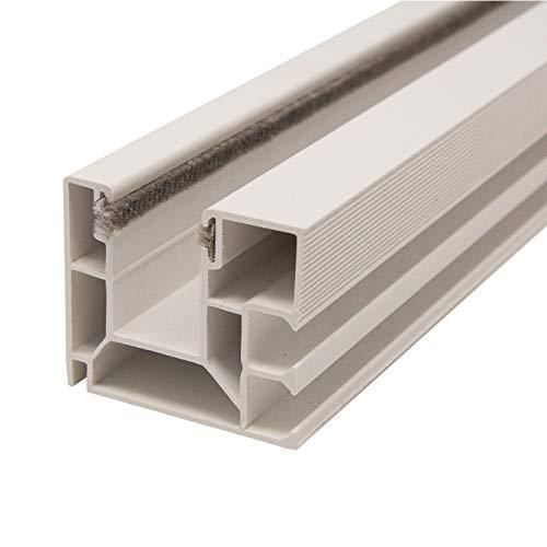 DIWARO. Rolladen Führungsschiene 4047 aus Kunststoff weiss, für Maxi Rolladenprofile, mit beidseitiger Bürstendichtung in grau, Fixlänge 1300mm