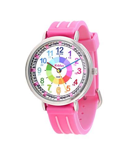 KIDDUS Lern Armbanduhr für Kinder, Jungen und Mädchen. Analoge Armbanduhr mit Zeitlernübungen, japanischen Quarzwerk, gut lesbar, um ganz leicht zu Lernen, die Uhr zu lesen. KI10302 Rosa