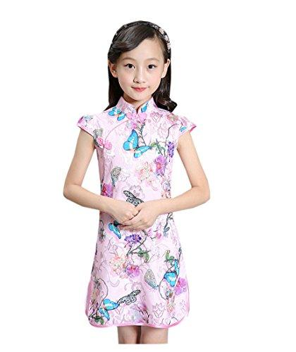 XueXian(TM) Niña Vestido Cheongsam Corto de Estilo Chino Estampado de Flores de Algodón(Flor 6,150cm/8-9 años)