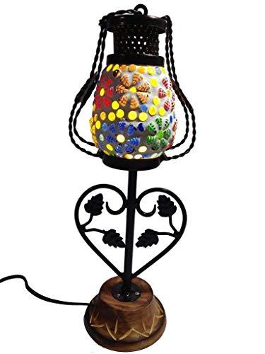 Fleurs De Rocaille Juego de 2 faroles LED de hierro forjado y madera, multicolor para decoración del hogar, diseño antiguo de pared