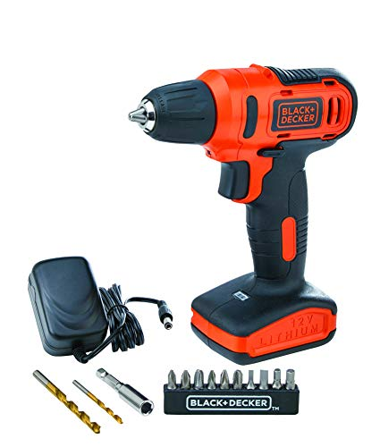 BLACK+DECKER LD12SP-B5 12V 10mm Li-ion Cordless Variable Speed Reversible Drill/Driver with 10 Screwdriver and 2 Drill Bits