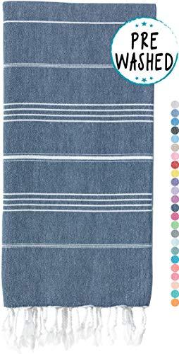 WETCAT Original Turkish Beach Towel (39 x 71) - Prewashed Peshtemal, 100% Cotton - Highly Absorbent, Quick Dry and Ultra-Soft - Washer-Safe, No...