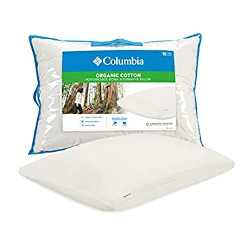 Columbia Organic Cotton Cover Pillow with Performance Down Alternative Fill – 300TC Cotton Sateen Cover - Designed for All Sleep Positions - Standard/Queen