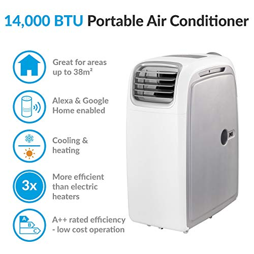 Airflex 14000 BTU 4kW Portable Air Conditioner with Heat Pump for Rooms up to 38 sq mtrs WiFi