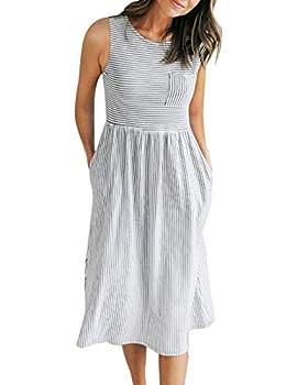 MEROKEETY Women s Sleeveless Striped High Waist T Shirt Midi Dress