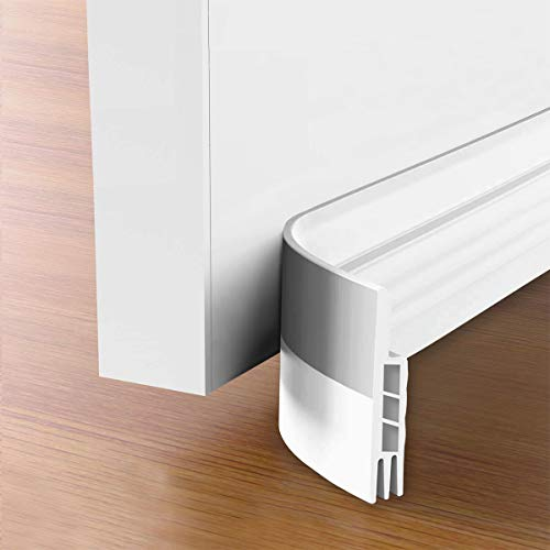 Suptikes 2 Pack Door Draft Stopper,Door Sweep for Exterior & Interior Doors,Door Bottom Seal Dust and Noise Insulation Weather Stripping Draft Guard Insulator, 1-4/5' W x 37' L,White