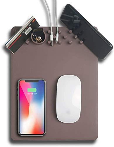 Gymqian Multifunción Qi Carga Internamente Cargura Mousepad Adecuado para Iphone 11 Pro Max Plus Compatible para Sansumg S10 Nota 10 Carga Ratón Portífago Soporte de Teléfono Carga