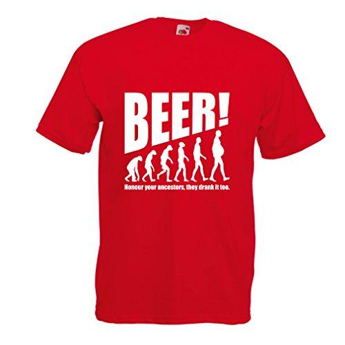 T-Shirt pour Hommes The Beervolution - des idées de Cadeaux sarcastiques Uniques pour Les Amateurs de bière, lévolution de la Boisson (X-Large Rouge Blanc)