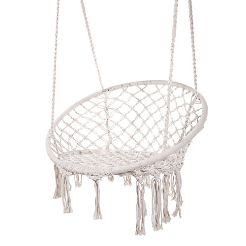 Greenstell Hammock Chair Macrame Swing With Hanging Kits Hanging