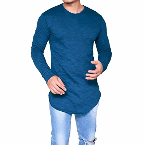 Toamen Hommes T-shirt Décontractée Slim Fit Muscle Manche Longue Couleur unie O Cou (Bleu, XXXL)